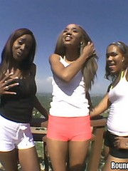 Three smokin hot ebony babes give it up..