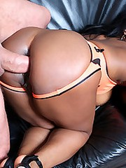 Brown sugar babe gets her pussy drilled after a game of tennis in this hot mama fucking movie and pics