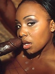 Ebony babe in fishnets gets fucked