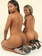 Petite black beauties munch a little rug in this hot action
