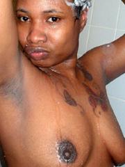 Hot ebony bombshell in swimsuit