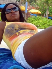 Picture collection of an amateur black GF in a hot interracial sex