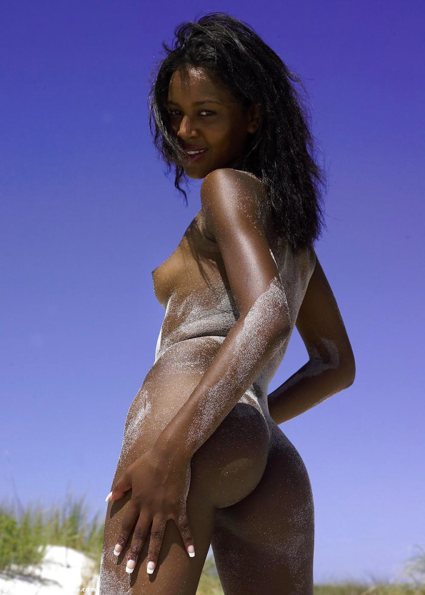 Beautiful black girl topless naked self pic