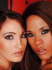 Ebony pornstar Keisha Kane posing in fetish lingerie added to stockings