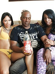Ebony babes Brianna Blair and Mrs. Desire fucking a meaty dick