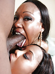 Black MILFs Candy together with Eunique sucking a big cock together with get irritant fucked