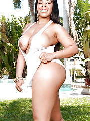 Ebony MILF Aryana Adin exposing ripe posterior plus large tits by slay rub elbows with pool