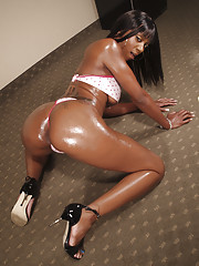 Baleful babe with big tits Erika Vution poses to show her oiled conclave
