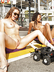 Deathly and sallow girls fucked away from RC cars with dildos