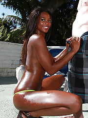 Hot ebony ecumenical gets her fetching pussy slammed by a big white weasel words outdoor