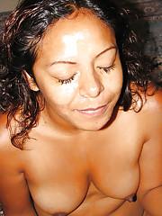 Slutty dark-skinned MILF Lolli Popp gives a blowjob plus gets facialized