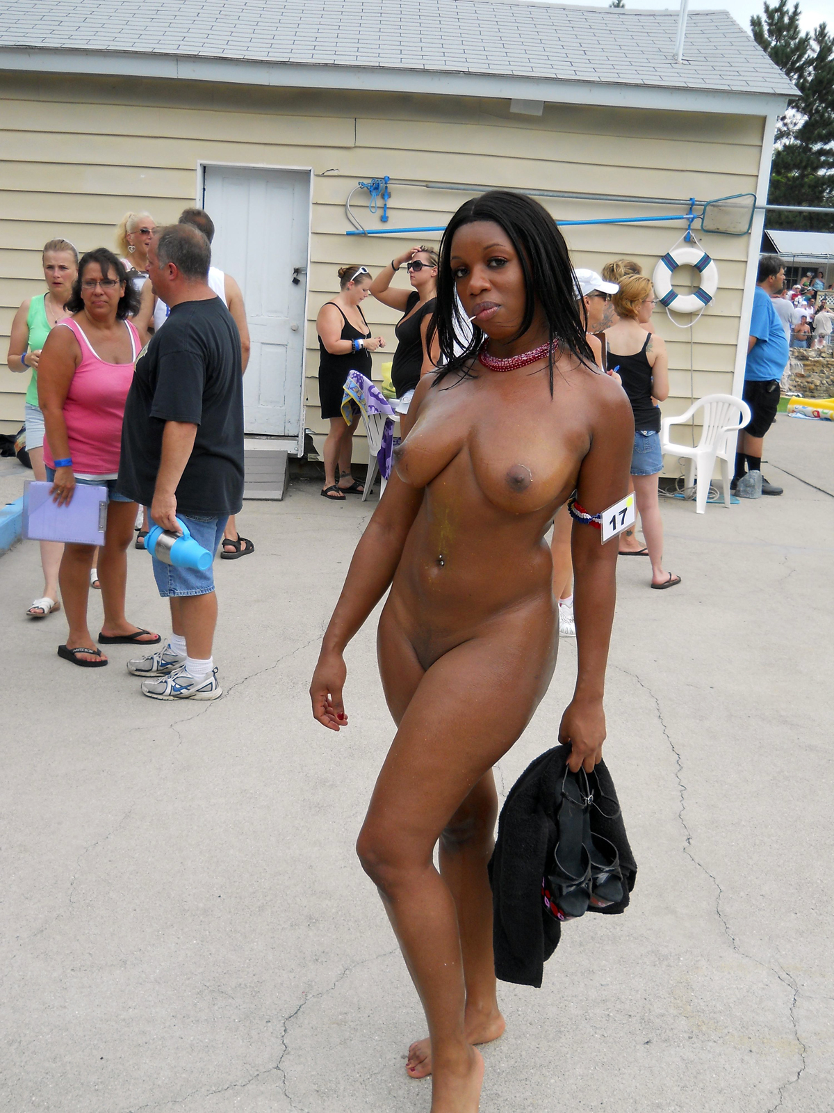 Beach ebony party nude