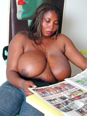 Busty black sister with very very huge jugs