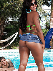 Ebony plumper take bikini Appreciation Mia gets oiled to and placed upstairs hard meat