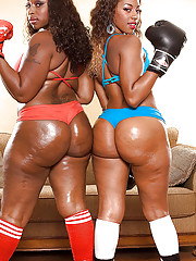 Hot threatening girls all over heels and the boxing gloves exposing shapely butts and fucking