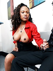 Black babe Lacey DuValle gets her pussy kaput plus banged in the office
