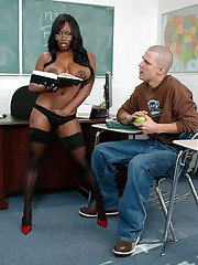 African MILF teacher Jada Fire bouncing on flannel in stockings and heels