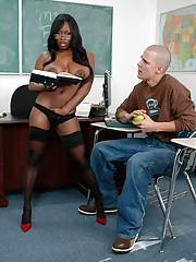 African MILF teacher Jada Fire bouncing on cock in stockings and heels