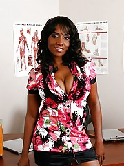 Office ebony spoil with big hooters Sincerre Lemore licking will not hear of jugs