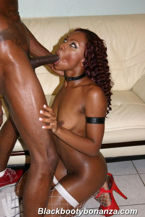 Bleached blonde babe gets on her knees and sucks thick black cock then fucks 6