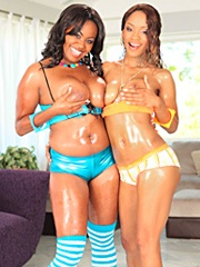 Mahogany Bliss and Riyanna Skie aren't new to going dyke on each other. Last time these two hooked up was in the back of a car and there wasn't enough room for them to do the job right! Now they spread out on the floor like good ebony whores and show you
