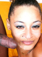 Horny ebony babe Armani takes sticky cum on her face