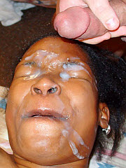 Ebony broad gets a gallon of cum dumped on her face