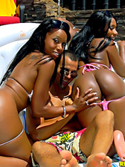 Watch 2 smoking hot ass brown skin babes share a hard cock by the pool in these hot wet fucking double cumshot pics