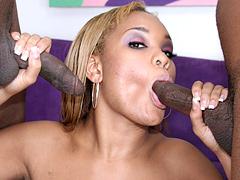 Ebony Lelani Lovitt gets her pussy and ass stuffed hard. Lelani Lovitt