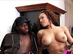 Curly haired big tit ebony teen gets into lingerie and a hard black dick. Laronda