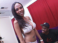 Sexy long haired ebony teen opens her legs wide for a black dick drilling. Lacey Duvalle