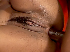 Black babe gets a cock deep in her ass. Karma Storm
