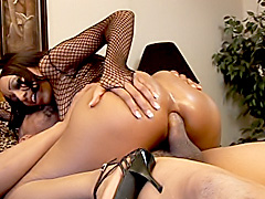 Black babe rides a big cock with her ass. Karma