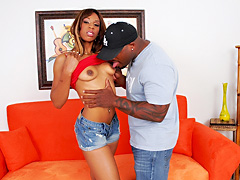 Slim black chick gets her bald pussy fucked hard. Kacey Bunny