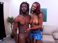 Sexy sista gets her pussy slammed by a huge black cock on the couch. Alana Play