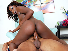 Aspiring black model jiggles her tush in cowgirl style. Osa Lovely