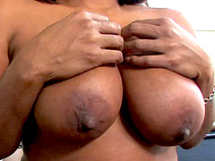 Busty ebony hooker, Janet Jacme, is on fire and she can..