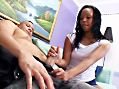 Kim Pleasures is a pretty ebony teenager with nice face and and sexy fuckable ass. Kim sucks..