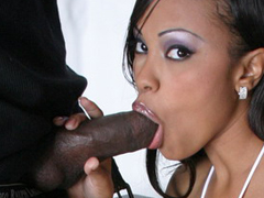 Lacey Duvalle exposes big ebony boobs and does fine blow job