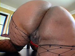 Ebony fatty Ms Townsend, fucked on table