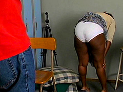 Amateur black hoe Dee caught in the back room and prepareing to new sex adventures