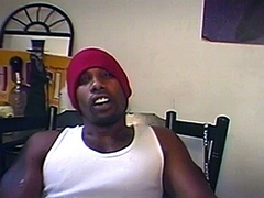 Star Boy is a hung ebony stud that loves having other guys watch him. He set up a camera at his house and filmed himself as he pulled his big dick out of his pants and started rubbing it.
