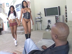 Busty ebony whores Baby Doll and Havana Ginger getting reamed