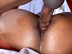Big black ass bounce on a stiff rod