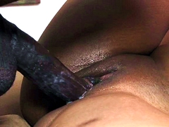 Big tits ebony Amber Stars pussy pounded by long black dick