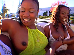 Hot black babes rides in car and showing their juicy black tits and big round asses in public