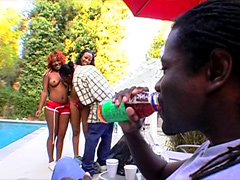 These horny black girl-friends, Honey & Nina, who share everything, even the boyfriend's big cock and his cum. Watch two cute black sluts and two guys in hardcore action near pool. It's hard and dirty from start to finish and just the sort of action to ma