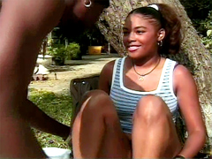 This black girl Meagan Reed the pretty girl, her body is fine. She had a rest in the park when to her has..