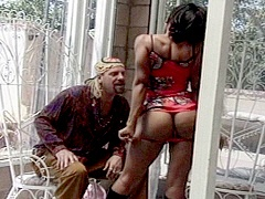 Petite black babe bent over and fucked by a white guy. Diana DeVoe, watch free porn video.
