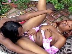 Round bottomed ebony lesbians making..